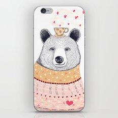 Bear lover of coffee iPhone & iPod Skin