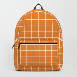 Cadmium orange - orange color - White Lines Grid Pattern Backpack
