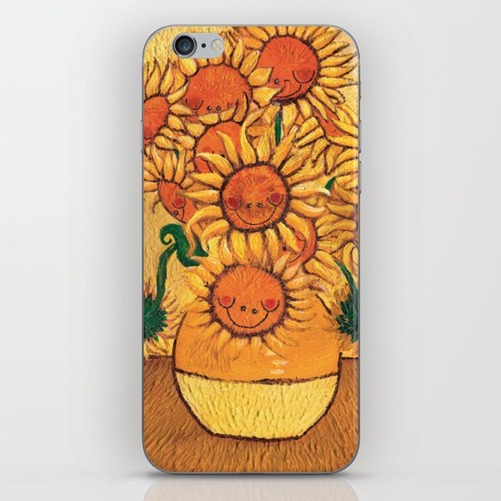 Flowers - Reinterpretation of Vase with 12 sunflowers by Vincent Van Gogh - Kids Art for sale iPhone & iPod Skin