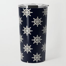 Maritime Design - Nautic Wheel in white on darkblue background Travel Mug