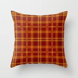 Tartan - Orange Brick Red Throw Pillow