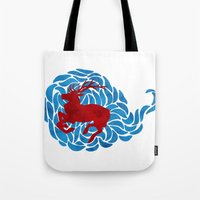 elk Tote Bags featuring Elk by Deadbirds