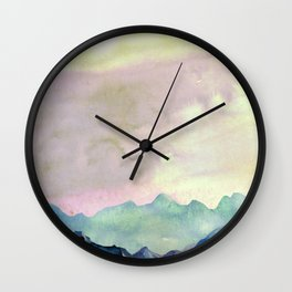 mountains and a little house Wall Clock