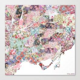 Toronto map flowers Canvas Print