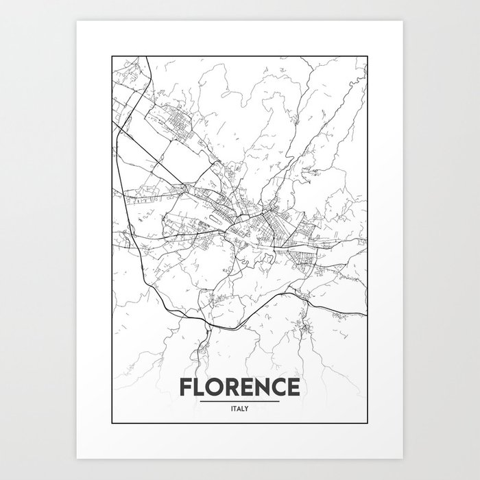 Minimal City Maps - Map Of Florence, Italy. Kunstdrucke von valsymot ...
