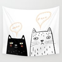 meow Wall Tapestries featuring meow by Hello Sunwoo