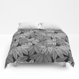 Black & White Leaves By Everett Co Comforters