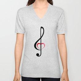 Heart music clef Unisex V-Neck