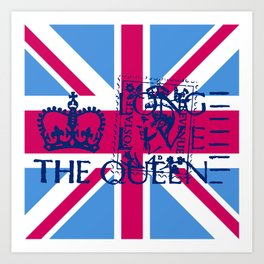 British Flag in Pink Art Print