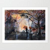 rain Art Prints featuring Autumn rain - watercolor by Nicolas Jolly