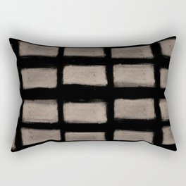 Brush Strokes Horizontal Lines Nude on Black Rectangular Pillow