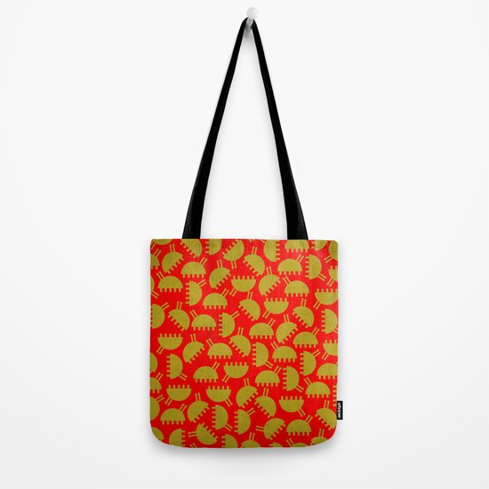 Happy green bugs on red. Tote Bag