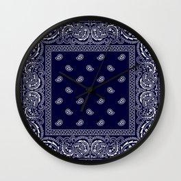 Bandana - Navy Blue - Southwestern - Paisley  Wall Clock
