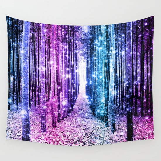 Pink Wall Tapestry magical forest : aqua periwinkle purple pink ombre sparkle wall