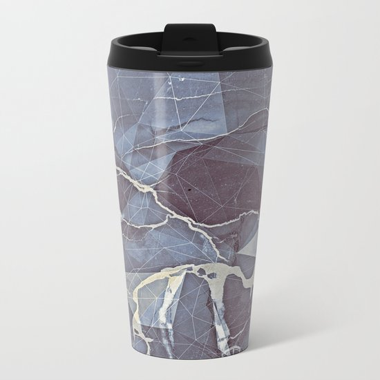 Geometric Marble Metal Travel Mug