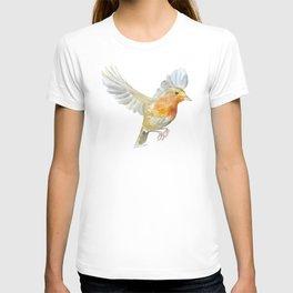 Robin in Flight Watercolor T-shirt