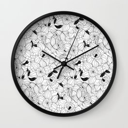 Daffodils spring floral pattern Wall Clock