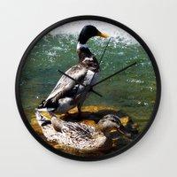 ducks Wall Clocks featuring Ducks by Siriusreno