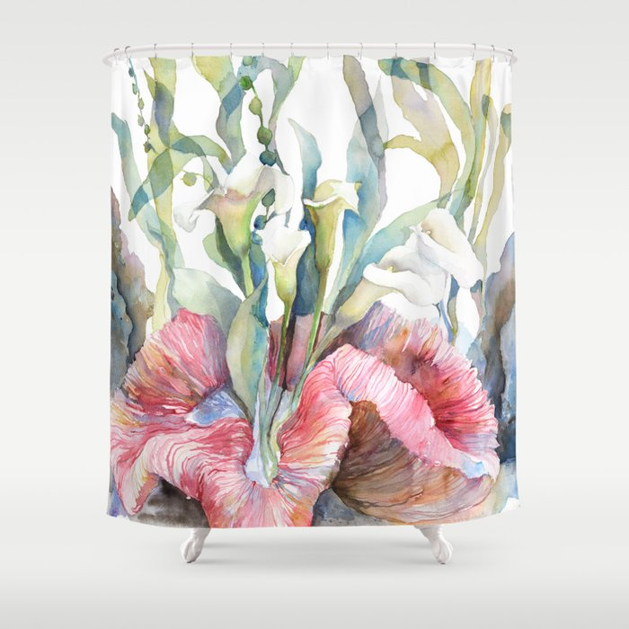 White Calla Lily And Corals Seaweed Watercolor Surreal Botanical Underwater Shower Curtain