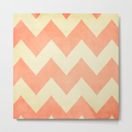 Fuzzy Navel - Peach Chevron Metal Print