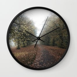 misty day at park Wall Clock