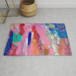 Lucky #13, a contemporary abstract in pinks and fuchsias Rug