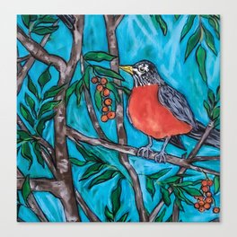 Robin Redbreast in the Mountain Ash Canvas Print