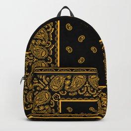 Classic Black and Gold Bandana Backpack
