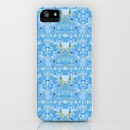 Light Blue and Gold Abstract Unicorn Quilt Print iPhone Case