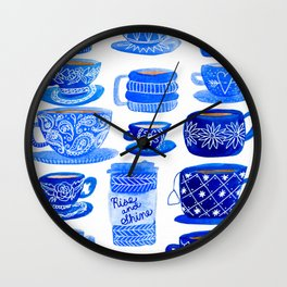 Coffee Mugs and Tea Cups - A study in blues Wall Clock