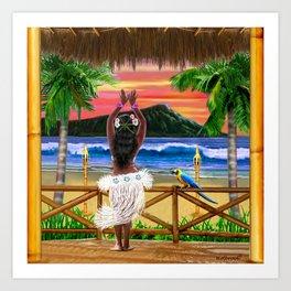 Hawaiian Sunset Hula Dancer Art Print