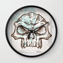 skull sketch design on background Wall Clock