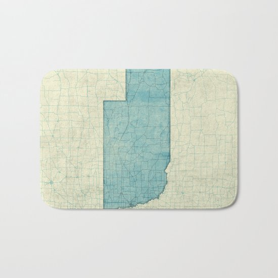 Nebraska State Map Blue Vintage Bath Mat