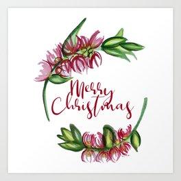 Merry Christmas - An Australian Native Floral Wreath Art Print