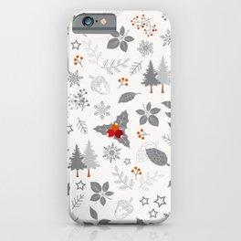 cool Holly Winter Wonderland Pattern iPhone Case