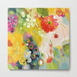abstract floral art in yellow green and rose magenta colors Metal Print