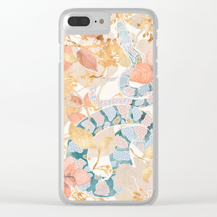 Coral Spring Garden Clear iPhone Case