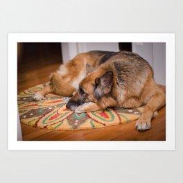 Snuggle Pup Art Print