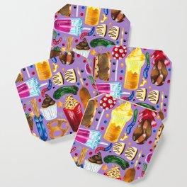 Florida Theme Park Snacks - Hand Painted on Purple Coaster