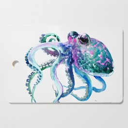 Octopus, Turquoise Green Purple Pink Octopus Design Cutting Board
