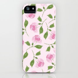 Watercolor Rose Pattern (Pink) iPhone Case