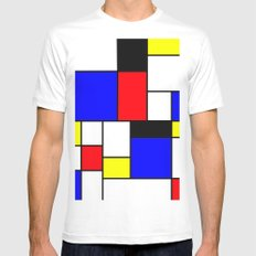 Red Blue Yellow Geometric Squares MEDIUM White Mens Fitted Tee