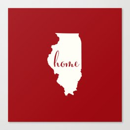Illinois is Home - Red on White Canvas Print