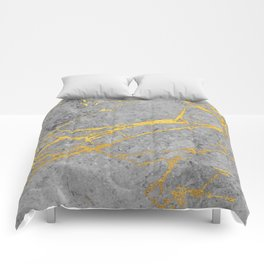 Grey Marble and Gold Comforters