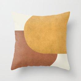 Halfmoon Colorblock - Gold Brown Throw Pillow