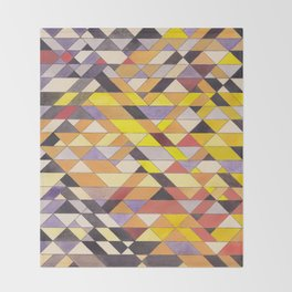 Triangle Pattern No.8 Black and Yellow Throw Blanket
