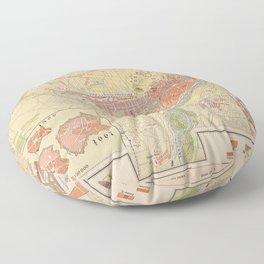 Vintage Munich Germany Map (1890) Floor Pillow