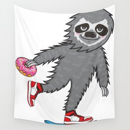 Skater Sloth Wall Tapestry