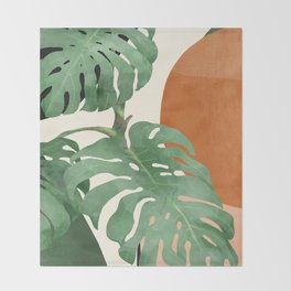 Tropical Leaves- Abstract Art  Throw Blanket