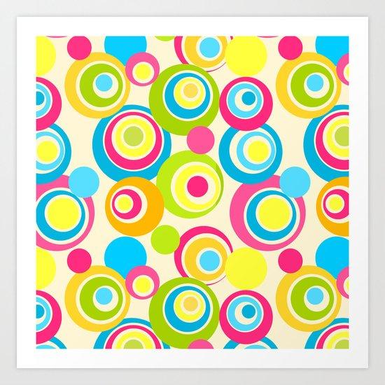 Retro circles Art Print